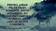 Prefiro andar pelos vales sombrios junto aos lobos, do que em campos floridos ao lado de falsos cordeiros.