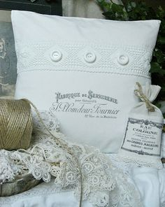 French-Inspired White Pillows - Made from vintage linens.  Image transfers made with tea tree oil.  You can also use lavender oil, Citra-Solv, acetone or paint thinner.