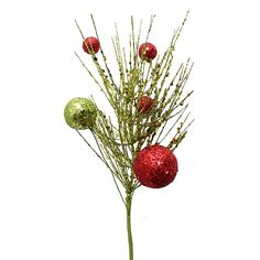 """Glittered Pine Pick with Red and Green Balls 15"""" Tall Only $2.49 winter wedding christmas holiday seasonal decor decorations http://www.afloral.com/Silk-Flowers-Artificial-Flowers-Fake-Flowers/Silk-Holiday-Flowers/Glittered-Pine-Pick-with-Red-and-Green-Balls-15-Tall"""