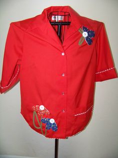 Unique Vintage Red Blouse with Flowers / Size XL by CCAttic, $20.00