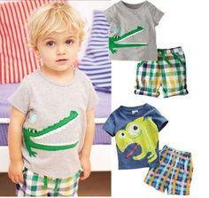 Kid Crocodile Dinosaur Cotton Suit T-shirt+Pants Lattice Shorts