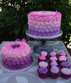 Ombre First Birthday Cake, Smash Cake and matching cupcakes.