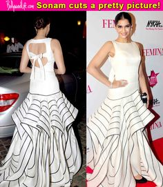 Femina Beauty Awards 2015: Sonam Kapoor makes for a demure silhouette- view pics!  #FeminaBeautyAwards2015   Sonam Kapoor attended the Femina Beauty Awards last night. She wore a drop-dead gorgeous Isabel Sanchis gown and Nirav Modi jewellery. She punctuated the look with basic black pumps and a Judith Leiber clutch. She was styled by her