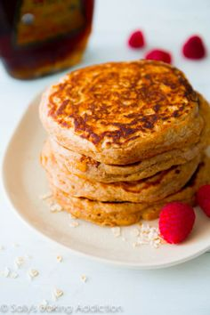 Healthy Whole Wheat Oatmeal Pancakes. Soft, wholesome pancakes made with simple ingredients | sallysbakingaddiction.com - substituted half of flour with buckwheat. Really thick, but girls liked with pb and jelly.