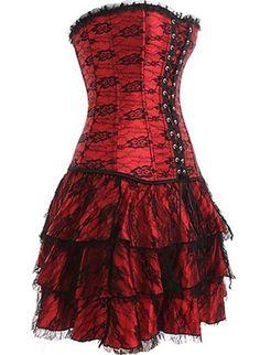 Red Layered Lace Corset Dress