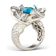 Cushion Cut Aquamarine Rhodium Plated Sterling Silver Women's Mermaid Women's Ring