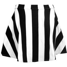 Motel Kadie High Waist Skater Skirt in Black and White Stripe (€17) ❤ liked on Polyvore featuring skirts, bottoms, saias, faldas, short skater skirt, black white stripe skirt, high-waisted flared skirts, short flared skirt and skater skirt