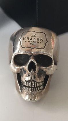 Rare One Off The Great Frog London Kraken Rum Medium Skull Ring Size X