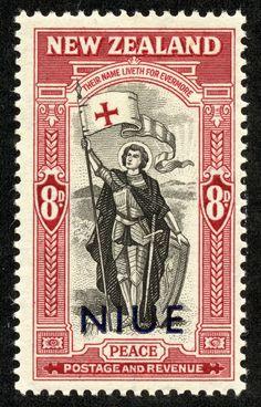 "Niue –  1946 Scott 93 8p brown lake & black  ""Knight, Window of Wellington Boys' College"" New Zealand Scott 255, Blue overprint"