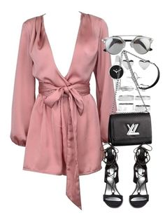 """""""Untitled #1771"""" by victoriamk ❤ liked on Polyvore featuring Boohoo, Christian Van Sant, Louis Vuitton and Stuart Weitzman"""