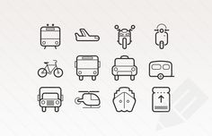 preview of train, plane, bike, bus, taxi, caravan, truck and ship vector icons