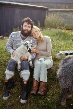 Sir Paul McCartney cradles a lamp and cuddles his first wife Linda McCartney at High Park Farm, Kintyre in Scotland.