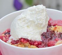 Berry Crisp Recipe - Raspberries, blueberries and a topping of vanilla ice cream or whipped cream. Yum!