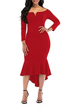 029e58b01d1 ONLYSHE Womens Off The Shoulder High Low Bodycon Mermaid Evening Party Midi  Dress