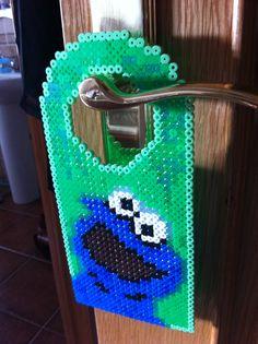 Cookie Monster door hanger hama perler beads by Beatriz Sales Almazán