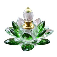 Green Color Crystal Lotus Flower Figurines Miniatures Feng Shui Glass Prfumed Empty Car Decoration For Home Decor Presents #Affiliate