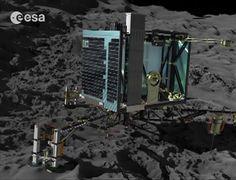 """O robô Philae pousou na superfície do cometa 67P/ Churyumov-Gerasimenko, nesta quarta-feira (12), às 14h03 (horário de Brasília), a aproximadamente 500 milhões de quilômetros de distância da Terra. O pouso foi confirmado pela Agência Espacial Europeia (ESA), em Darmstadt, na Alemanha. Pelo Twitter, a agência anunciou: """"Estamos no cometa"""". Trata-se de um feito inédito na história da exploração espacial, que permitirá aos cientistas ter mais informações sobre a origem da vida na Terra."""