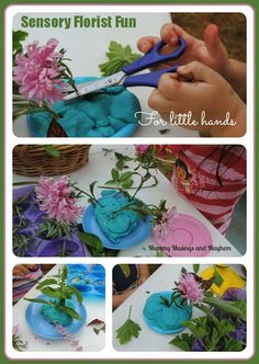 Sensory Fine Motor Florist Fun for all ages... an easy and creative way to help kids interact with nature..includes links to EYLF.  Mummy Musings and Mayhem