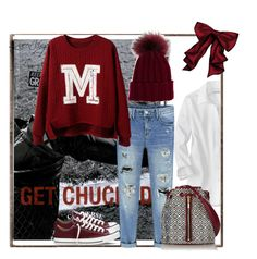 """""""Burgundy Converse....Sneaker Fashion"""" by queenvirgo ❤ liked on Polyvore featuring Converse, Elizabeth and James and Inverni"""