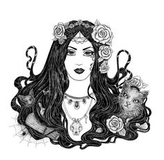 Gothic beauty. An elegant black-haired girl with flowers. Cat and bat. Black and white ink artwork.