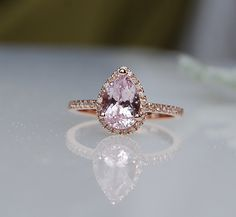 1.9ct Pear shape Ice Peach sapphire in 14k rose gold diamond ring engagement ring on Etsy, $2,175.42