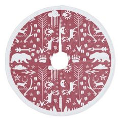 Red Woodland Deer Bear Tracks Merry Christmas Fleece Tree Skirt