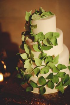 Leaf Cake inspired by image found on The Knot (Powel Crosley Wedding)