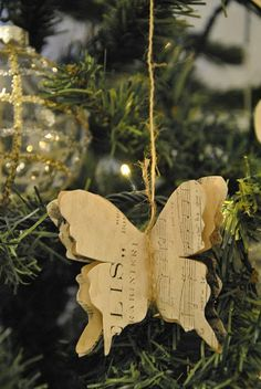 Sheet music butterfly ornament and garland - Christmas holiday butterflies - vintage book pages and twine
