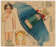 Dolls of the Nations: Italy paper doll 1909  Early paper dolls came in books, boxes, folders, magazines, newspapers, and advertisements. By the 1920s and 1930s, most paper dolls came in a book with the doll figures on the cardboard covers and the clothing on the paper pages within. These paper doll books sold for just five cents or a dime, even during the Great Depression. Paper dolls were most popular during World War II probably because materials needed for other kinds of toys were directe