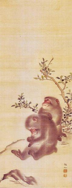 Monkeys. MORI Sosen (1747-1821). Japanese hanging Scroll. Edo period.