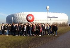 One of our student groups enjoyed a tour of the Allianz Arena while on a German language tour to Munich. Trips For Young People, Business Studies, German Language, Travel Tours, Munich, Student, Adventure, Education, School