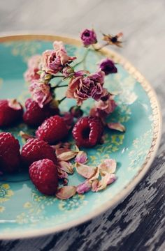Raspberries and lovely plate
