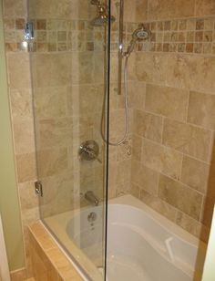 Bathroom Wonderful Bathroom Frameless Shower Sliding Door With Soaker Shower Tub Combo And Natural Brown Color Wall Tile Design Modern Design Frameless ... & Love this tub...tile accents and doors. This would work for your ... Pezcame.Com