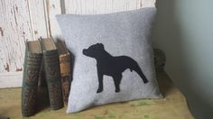 Pitbull Pillow Cover  Black Silhouette Gray Wool 14 by SmokinTweed