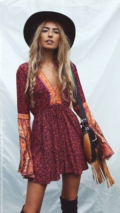 192fd990b5a5  spring  outfits Black Hat + Red Printed Boho Dress + Black OTK Boots