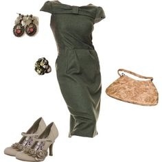 """1940s Green & Gold Vintage style"" by certainstyle on Polyvore"