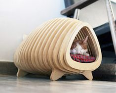 pote contours a wooden fishbone house for animals