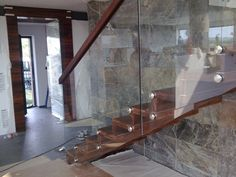 Stairs made of wood, steel, metal and concrete staircase, directly from manufacturer Concrete Staircase, Deck Stairs, Wooden Stairs, Deck Construction, Industrial Interiors, Interior Stairs, Deck Design, Made Of Wood, Dining Table
