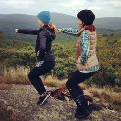 Katherine and Allison, both clients at The Bar Method Boston, do thigh work at Mt. Alander. Great form! #WhereDoYouBar? #barmethod