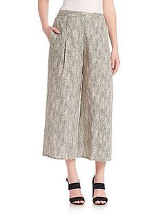 Eileen Fisher Printed Organic Cotton Cropped Pants - Natural - Size