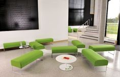 A family of products, Touch includes benches, connecting tables, high and low stools and a matching coffee table.