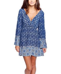 Love this On Twelfth Blue Floral Bell-Sleeve Surplice Dress by On Twelfth on #zulily! #zulilyfinds