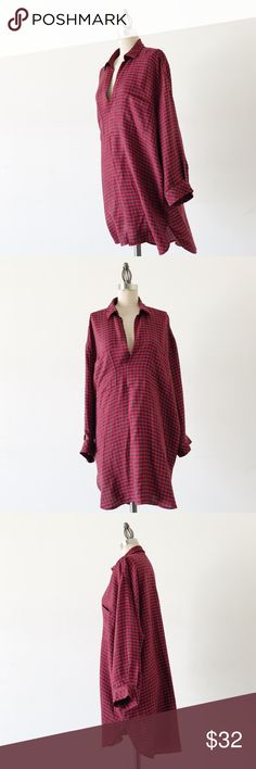 """ZARA   Red Check Oversized Popover Top FEATURES:  •Long sleeves  •Collar Oversized, relaxed fit •Chest pockets  •Care tag missing, exact fabric content unknown  •Made in Turkey  MEASUREMENTS: Bust - 52"""" Waist - 48"""" Length - 36""""  ☑️Very good condition ✖NO TRADES/RESERVES/MODELING 2017-05-068 Zara Tops"""