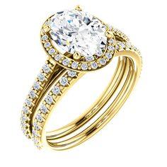 2.0 Ct Oval Halo-style Diamond Engagement Ring 14k Yellow Gold – Goldia.com