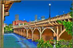 The Tulsa 11th street bridge is a famous route 66 Art Deco bridge where East meets West.