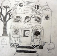 My favorite thing about teaching art is giving kids confidence in their art abilities.  Perspective is a tough concept.  It takes practice and a keen eye to catch that little detail that will make your picture come together.  I usually choose to start teaching perspective in fourth grade around Halloween and connect it to the season by drawing delapidated houses, that way if the perspective is a little off it fits right in.