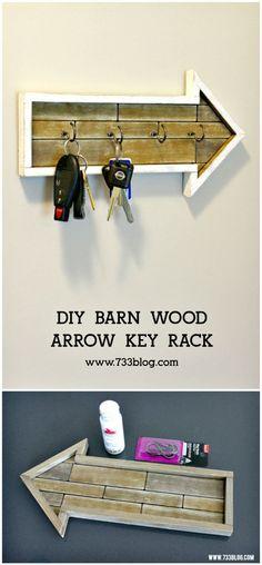 DIY Barn Wood Arrow Key Rack Tutorial - 25 Easy DIY Key Holders and Rack Ideas - DIY & Crafts