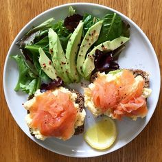 Smoked salmon & scrambled eggs on toasted rye bread, and a side salad with avocado & chilli flakes  Just what I needed after my seriously long run to the shops.. Because I got lost  I tried to be all clever and take a short cut but got stuck in the middle of a field with no phone signal  #epicfail