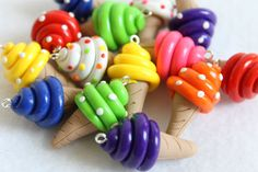 6 Colorful Ice Cream Charms Polymer Clay Charms door Emariecreations