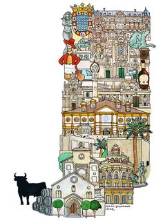 Jerez - ABC illustration series of European cities by Japanese illustrator Hugo Yoshikawa